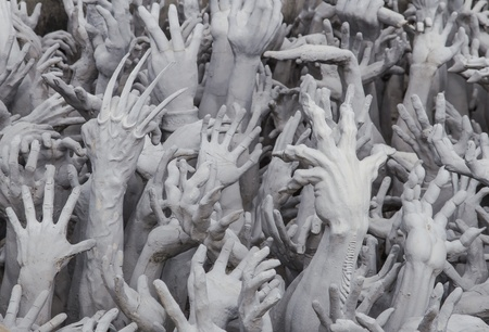 Hands Statue from Hell,Wat Rong Khun, Chiang Rai province, Thailand Stock Photo