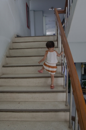 climbing stairs: Children up the stairs.
