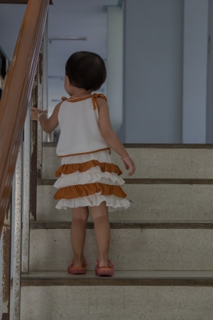 Children up the stairs. photo