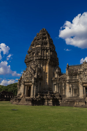 signify: Phimai Sanctuary, Nakhon Ratchasima, Thailand,Phimai Hin Phimai was a Mahayana Buddhist sanctuary. The inscriptions inside the main sanctuary also signify the Buddhist origin of Phimai, praising Lord Buddha and mentioning the Khmer King Suriyavaraman I as Stock Photo