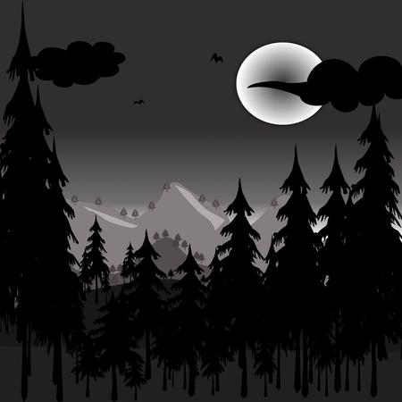 pines in full moon night