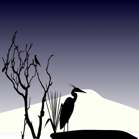 lonely stork in autumn Illustration