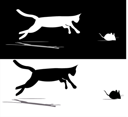disgusting animal: A cat strike a mouse Illustration