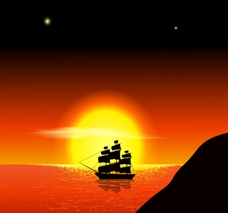 Ancient ships sailing into the sunset
