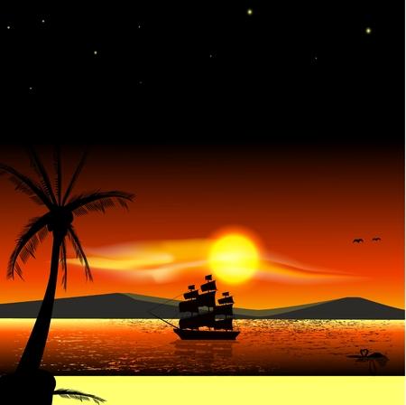 Sailing ship on the sea at sunset skyline