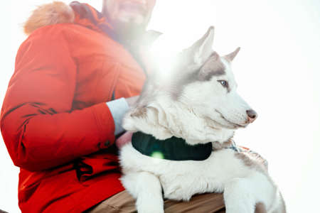Man hugging Siberian Husky dog on a walk in modern contemporary park on sunny winter day. Human and animal Love and friendship concept. Life after shelter.