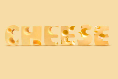 Creative Collage Made Of Roquefort and Cheddar Cheese With Realistic Shadows on Yellow Background. Healthy Nutrition