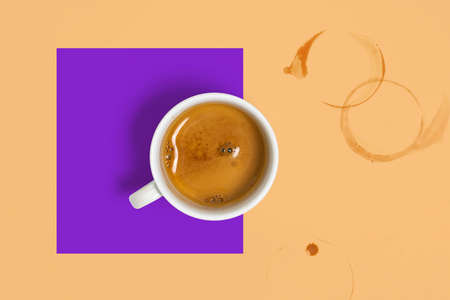 Collage, Poster of Coffee Cup With Freshly Brewed Espresso Near Coffee Smudges on Abstract Multicolred Geometrical Background Archivio Fotografico