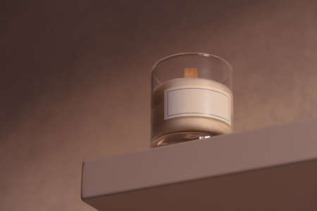 Scented Candle In Glass With Blank White Label On Shelf At Cozy Home Interior