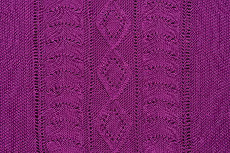 Violet knitted textured sweater pattern.