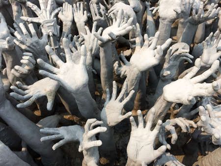 soul: White hands stucco Stock Photo