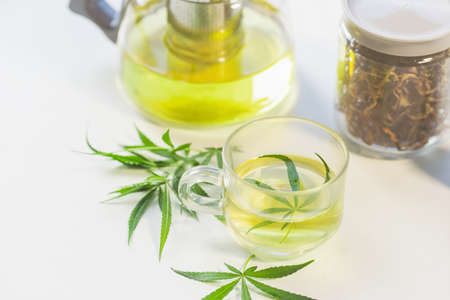A hot drink made by infusing the fresh leaves of the marijuana leaf in boiling water. Beverage ganja in glass cup for drink. Concept alternative herbs for healing.