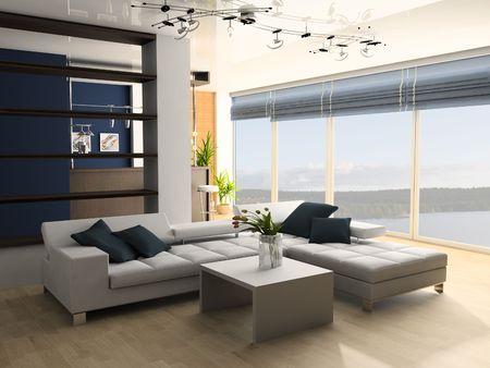 window shade: Sala de dibujo con un sof� y una imagen de ventana 3d