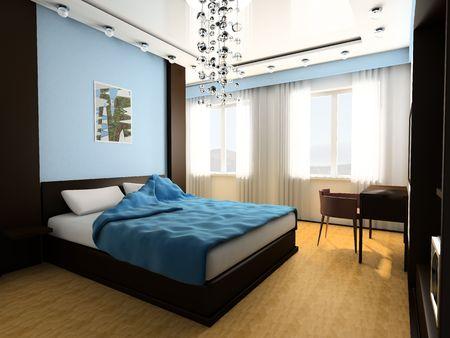 Bedroom in blue tones