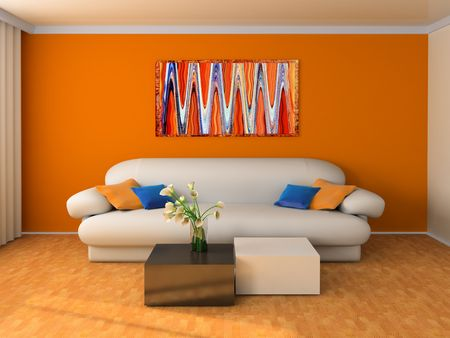 White sofa in a drawing room 3d image photo