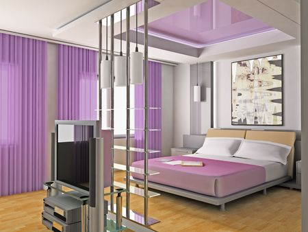 Bedroom in modern style 3d image Stock Photo - 6461503