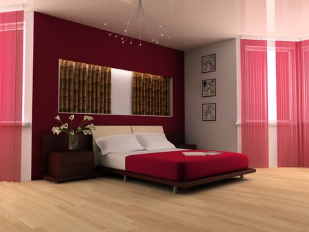 Bedroom in modern style 3d image photo