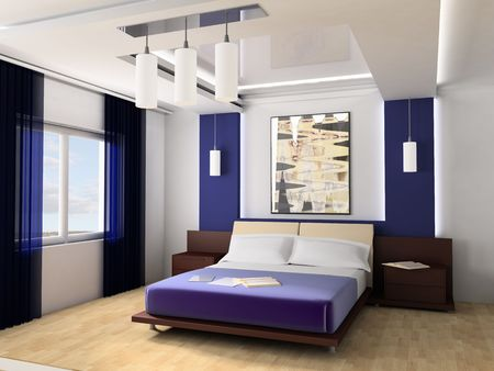 Bedroom in modern style 3d image Stock Photo