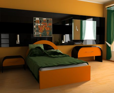 Bedroom in modern style 3d image Stock Photo - 6461380