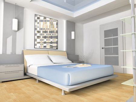 Bedroom in modern style 3d image Stock Photo - 6461295