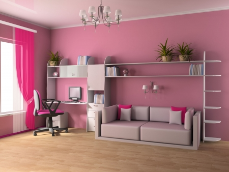 Working zone in a childrens room 3d image Stock Photo
