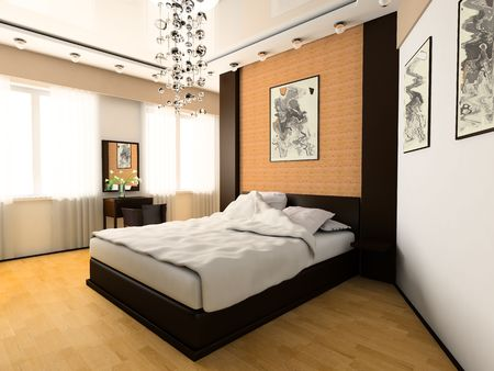 Bedroom in modern style 3d image Stock Photo - 6461502