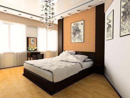 chambre � coucher: Chambre � coucher dans image 3d de style moderne  Banque d'images