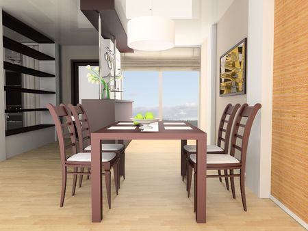 Bar and dining table 3d image photo