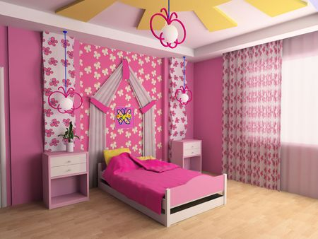 Pink childrens room with a bed 3d image photo