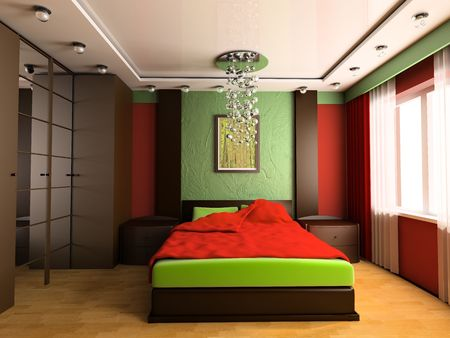 Bedroom in modern style 3d image Stock Photo - 6570491