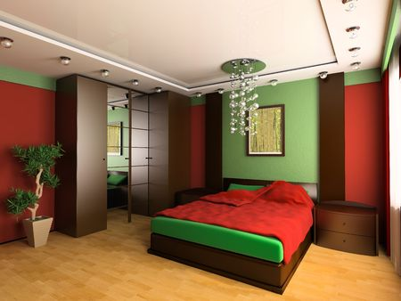 Bedroom in modern style 3d image Stock Photo - 6570530