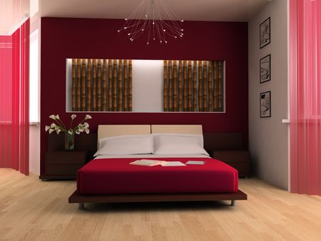 Bedroom in modern style 3d image Stock Photo - 6570506