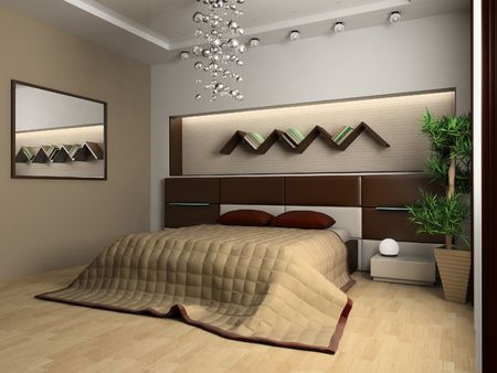 Bedroom in modern style 3d image Stock Photo - 6570523