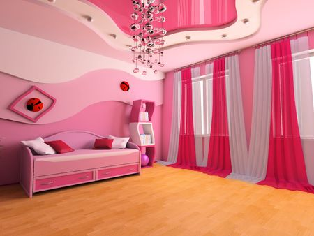 Pink childrens room with a sofa 3d image