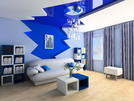 Blue children's room with a sofa 3d image Stock Photo - 6844497