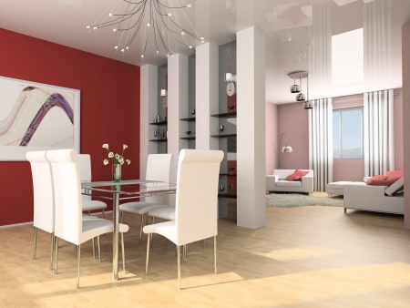 Dining table against a wall 3d image Stock Photo