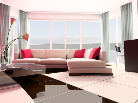 White sofa against a window in studio 3d image photo