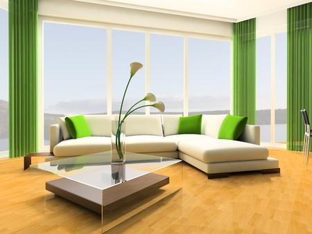 window shade: Sof� blanco contra una ventana de imagen 3d de estudio