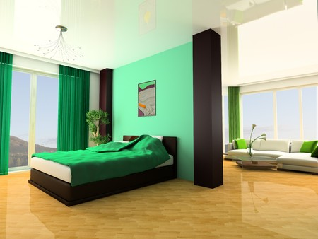 Bedroom in modern style 3d image Stock Photo - 7253334