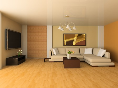 wooden floors: Sofa in a drawing room 3d image Stock Photo