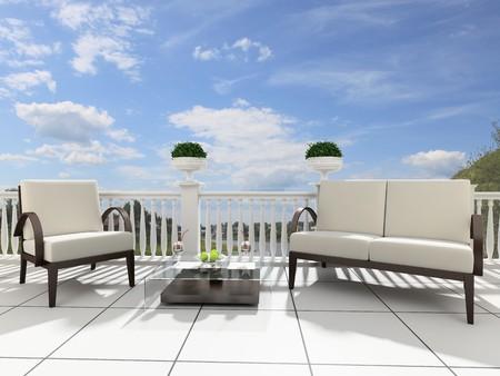 front porch: Sillones y una mesa sobre una terraza abierta