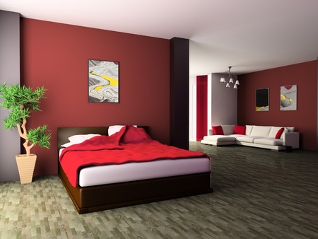 Bedroom in modern style 3d image Stock Photo - 7360137