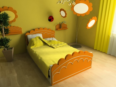 Bed in a childrens room 3d image photo