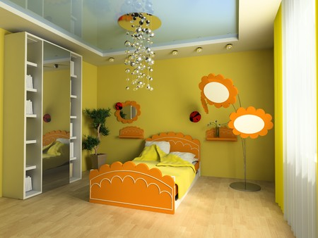 Bed in a childrens room 3d image Stock Photo