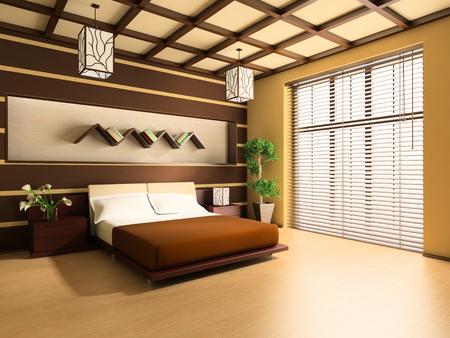 chambre � � coucher: Chambre � coucher dans image 3d de style moderne  Banque d'images
