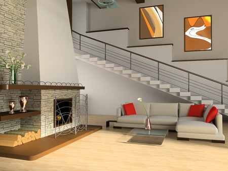 stones with flower: Fireplace and sofa in a drawing room against a ladder Stock Photo