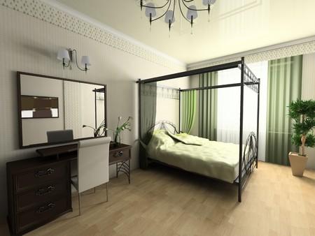 Modern bedroom in green tones 3d image Stock Photo - 8204557