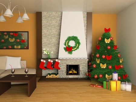 Fur-tree and fireplace in a drawing room Stock Photo - 8206332
