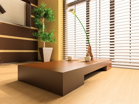 lamp shade: Tea table against a window