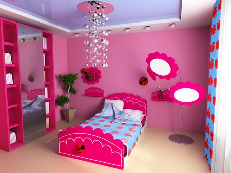 Bed in a pink childrens room Stock Photo